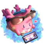 blush closed_mouth commentary_request corsola eyewear_on_head gen_2_pokemon heart ktk_sgr no_humans pokemon pokemon_(creature) smile solo sunglasses violet_eyes