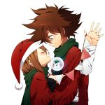 1boy 1girl bad_id bad_pixiv_id blush brother_and_sister brown_eyes brown_hair cape christmas closed_eyes closed_mouth digimon digimon_adventure eyebrows_visible_through_hair facing_another from_side green_scarf hat highres holding long_hair looking_at_another maro_(lij512) red_cape santa_hat scarf shirt siblings simple_background smile snow_globe string string_around_finger string_of_fate string_of_flags upper_body white_background white_shirt yagami_hikari yagami_taichi