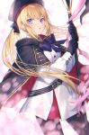 1girl artoria_pendragon_(all) artoria_pendragon_(caster) bangs belt belt_buckle beret black_belt black_bow black_cape black_gloves black_headwear black_legwear blonde_hair blue_bow blue_eyes bow buckle cape commentary_request dress eyebrows_visible_through_hair fate/grand_order fate_(series) gloves hair_bow hat highres holding holding_staff koyukomu long_hair long_sleeves multicolored multicolored_cape multicolored_clothes pantyhose parted_lips red_cape sidelocks solo staff striped striped_belt twintails very_long_hair white_dress