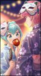 2girls bangs black_kimono blue_hair blue_kimono blurry blurry_background candy_apple festival floral_print food green_eyes hagoromo_lala highres holding holding_food hoshina_hikaru itou_shin'ichi japanese_clothes kimono multiple_girls pink_hair pointy_ears precure print_kimono red_eyes shiny shiny_hair short_hair star-shaped_pupils star_(symbol) star_twinkle_precure symbol-shaped_pupils yukata