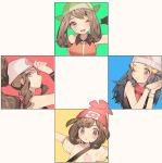 4girls bag bandana bangs baseball_cap beanie black_hair blush brown_hair commentary_request eyelashes gloves green_bandana haruka_(pokemon) hat hikari_(pokemon) mizuki_(pokemon) multiple_girls one_eye_closed open_mouth pokemon pokemon_(game) pokemon_bw pokemon_dppt pokemon_emerald pokemon_rse pokemon_sm red_headwear scarf shirt short_sleeves shoulder_bag teeth tongue touko_(pokemon) zuizi