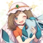 1girl ;d bangs blush brown_hair collarbone commentary_request eyelashes gen_4_pokemon glaceon green_eyes hands_up haruka_(pokemon) holding holding_pokemon medium_hair one_eye_closed open_mouth pokemon pokemon_(anime) pokemon_(creature) pokemon_dppt_(anime) short_sleeves smile tongue upper_body veil zuizi