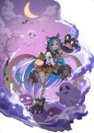 1girl :d absurdres animal_ear_fluff animal_ears bandaged_leg bandages bangs bare_tree bat bell blue_hair blush bow brown_skirt cat_ears clouds cloudy_sky commentary_request crescent_moon dress fake_animal_ears fang flan_(f_l_an) frills full_body fur_collar ghost gloves halloween halloween_costume highres jack-o'-lantern knee_up large_bow long_hair long_sleeves looking_at_viewer miyako_(princess_connect!) moon night night_sky open_mouth paw_gloves paw_shoes paws pleated_skirt princess_connect! princess_connect!_re:dive pumpkin shirt shoe_bow shoes skirt sky smile solo standing standing_on_one_leg star_(sky) tail torn_clothes tree very_long_hair white_shirt wolf_paws