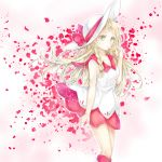1girl :o adapted_costume blonde_hair braid breasts collarbone collared_dress commentary dress falling_petals green_eyes hat highres lillie_(pokemon) long_hair looking_at_viewer petals pokemon red_dress rose_petals sleeveless sleeveless_dress small_breasts solo standing sun_hat sundress twin_braids two-tone_dress white_dress white_headwear yomogi_(black-elf)