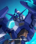 absurdres blue_eyes copyright_name ebikawa_kanetake episode_number glowing glowing_eyes gundam gundam_build_divers gundam_build_divers_re:rise gundam_try_age_magnum highres looking_down mecha no_humans official_art science_fiction solo v-fin