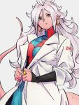 1girl android_21 breasts checkered checkered_dress dragon_ball dragon_ball_fighterz dress earrings grey_background hair_between_eyes hoop_earrings jewelry kemachiku labcoat long_hair looking_at_viewer majin_android_21 medium_breasts pink_skin pointy_ears red_eyes red_ribbon_army ring simple_background solo tail white_hair
