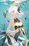 1girl bangs bare_shoulders breasts eyebrows hair_ornament highres lirseven liv_(punishing:_gray_raven) parted_lips punishing:_gray_raven short_hair swimsuit tropical_fish underwater violet_eyes white_hair