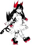 1girl black_hair closed_eyes demon_girl demon_tail demon_wings dress hands_up highres horns ink_(medium) juugoya_(zyugoya) limited_palette long_hair merii_(musuko_ga_kawaikute_shikatanai_mazoku_no_hahaoya) musuko_ga_kawaikute_shikatanai_mazoku_no_hahaoya red_horns shoes smile strapless strapless_dress tail traditional_media walking wings younger