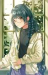 1girl absurdres bangs braid cup ear_piercing eyebrows_visible_through_hair glasses green_hair highres holding holding_cup indoors jacket looking_at_viewer nanna_(heyj2888) original piercing shirt smile solo tattoo tree window yellow_eyes