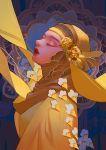 1girl closed_eyes dress eyebrows eyelashes flower kidchan lips lipstick makeup nose nostrils original scarf simple_background solo standing thick_eyebrows yellow_dress yellow_scarf