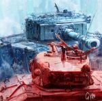 1boy fury_(movie) ground_vehicle gun gyan_(akenosuisei) m4_sherman machine_gun military military_vehicle motor_vehicle smoke tank tiger_i weapon