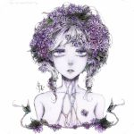 1girl arms_at_sides bangs collarbone commentary english_commentary eyelashes flower grey_hair grey_skin hair_flower hair_ornament lavender_eyes long_hair looking_at_viewer low_twintails marker_(medium) nude original parted_lips purple_flower simple_background solo svveetberry swept_bangs traditional_media twintails watercolor_(medium) white_background