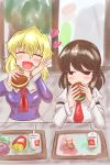 2girls absurdres blonde_hair brown_hair commentary_request crumbs cup disposable_cup drinking_straw eating food french_fries hamburger happy highres lettuce looking_at_another maribel_hearn mcdonald's multiple_girls no_hat no_headwear ron_samu_jouji sitting slug stuffed_toy touhou usami_renko