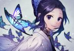 1girl black_hair bug butterfly butterfly_hair_ornament hair_ornament insect japanese_clothes kimetsu_no_yaiba kochou_shinobu looking_at_viewer omochimochi smile solo violet_eyes white_background