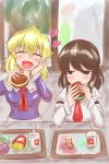2girls absurdres blonde_hair brown_hair crumbs cup disposable_cup drinking_straw eating food french_fries hamburger happy highres lettuce looking_at_another maribel_hearn mcdonald's multiple_girls no_hat no_headwear ron_samu_jouji sitting slug stuffed_toy touhou usami_renko
