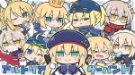 >_< adjusting_eyewear ahoge animal_ears armor artoria_pendragon_(all) artoria_pendragon_(caster) artoria_pendragon_(lancer_alter) artoria_pendragon_(swimsuit_archer) artoria_pendragon_(swimsuit_rider_alter) artoria_pendragon_(swimsuit_ruler)_(fate) beret blonde_hair blue_eyes blue_headwear blue_jacket blue_neckwear blush commentary_request crown fate/grand_order fate_(series) food frilled_hairband frills fur-trimmed_jacket fur_trim glasses green_eyes hair_ornament hairband hat jacket multiple_girls mysterious_heroine_x mysterious_heroine_x_(alter) mysterious_heroine_xx_(foreigner) nejikirio one_eye_closed open_mouth popsicle rabbit_ears rhongomyniad saber scarf smile sparkle surprised tongue tongue_out translation_request water_gun yellow_eyes