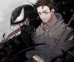 2boys bodysuit claws dual_persona eddie_brock facial_hair iyo_(nanaka-0521) looking_at_viewer male_focus marvel multiple_boys muscle open_mouth sharp_teeth short_hair simple_background smile symbiote teeth tongue tongue_out venom_(marvel)