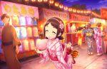 blush brown_hair closed_eyes idolmaster_cinderella_girls_starlight_stage kimono muramatsu_sakura short_hair smile