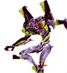 dynamic_pose eva_01 goto303 horns marker_(medium) mecha neon_genesis_evangelion no_humans open_hand single_horn solo standing traditional_media watercolor_(medium) white_background yellow_eyes