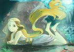 1girl absurdly_long_hair absurdres barefoot blonde_hair commentary_request coral crack crossed_arms dress feet_up from_side full_body gold gold_hairband green_eyes highres light_rays long_hair looking_at_viewer lying no_shoes on_stomach original shiny soles solo submerged sunbeam sunlight turquoise_iro underwater very_long_hair water white_dress