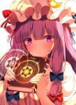 1girl blue_bow book bow breasts commentary crescent crescent_moon_pin eyebrows_visible_through_hair frown glitter hair_bow hat hat_bow highres holding holding_book hunya large_breasts looking_at_viewer magic_circle mob_cap mukyuu nail_polish patchouli_knowledge red_bow simple_background solo touhou upper_body violet_eyes white_background