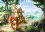 artist_name camerupt closed_eyes clouds dated day gen_3_pokemon grass nature no_humans numel outdoors pokemon pokemon_(creature) santoni smile tree