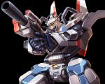 black_background copyright_request english_commentary gun holding holding_gun holding_weapon mecha mecha_request mechanical_wings no_humans solo taedu upper_body visor weapon wings