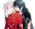 2girls arm_guards byleth_(fire_emblem) byleth_(fire_emblem)_(female) byleth_eisner_(female) cape closed_eyes edelgard_von_hresvelg female_my_unit_(fire_emblem:_fuukasetsugetsu) fire_emblem fire_emblem:_fuukasetsugetsu fire_emblem:_three_houses fire_emblem_16 green_hair hand_on_another's_arm hand_on_another's_shoulder highres intelligent_systems koga_mutsuki lavender_eyes medium_hair multiple_girls my_unit_(fire_emblem:_fuukasetsugetsu) nintendo parted_lips side_ponytail smile timeskip upper_body you_gonna_get_raped young_adult yuri