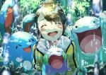 1girl absurdres azumarill bangs blush brown_hair closed_eyes commentary_request foliage gen_2_pokemon gen_6_pokemon gloves goomy happy highres holding holding_pokemon jacket making-of_available master_dojo_uniform open_mouth pokemon pokemon_(creature) pokemon_(game) pokemon_swsh pon_yui quagsire rain short_hair smile teeth tongue upper_teeth yellow_jacket yuuri_(pokemon)