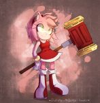 1girl amy_rose animal_ears arm_behind_back artist_name bangs blush boots breasts closed_mouth commentary dress english_commentary full_body furry gloves green_eyes hairband hammer happy heart holding holding_weapon huge_weapon knee_boots light_blush medium_breasts pink_background pink_hair red_dress red_footwear red_hairband short_hair simple_background sketch sleeveless sleeveless_dress smile solo sonic_the_hedgehog spacecolonie standing tumblr_username weapon white_gloves