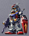 1boy amuro_ray character_name chibi gun gundam helmet holding holding_gun holding_shield holding_weapon looking_up mabius mecha mobile_suit_gundam no_humans one_eye_closed pixel_art rx-78-2 shield standing thumbs_up v-fin weapon yellow_eyes
