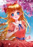 1girl :d aino_minako bangs bishoujo_senshi_sailor_moon blonde_hair blue_bow blue_eyes blue_ribbon blurry blurry_background bow dress earrings eyebrows_visible_through_hair floating_hair hair_between_eyes hair_bow jewelry long_hair looking_at_viewer neck_ribbon open_mouth red_bow red_dress ribbon shiny shiny_hair short_sleeves smile solo spring_(season) standing striped tabby_chan twitter_username vertical-striped_dress vertical_stripes very_long_hair