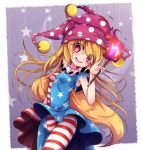 1girl american_flag_dress american_flag_legwear blonde_hair blush_stickers breasts clownpiece dress fairy_wings fang fire floating_hair hat highres holding jester_cap long_hair looking_at_viewer open_mouth pantyhose pink_eyes pink_headwear polka_dot shen_li short_dress skin_fang sleeveless sleeveless_dress small_breasts smile solo star-shaped_pupils star_(symbol) star_print striped symbol-shaped_pupils torch touhou transparent_wings very_long_hair wings