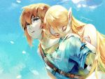 1boy 1girl bangs blonde_hair blue_eyes carrying couple dress earrings gloves jewelry link long_hair open_mouth pearjarrr piggyback pointy_ears princess_zelda sleeping smile the_legend_of_zelda the_legend_of_zelda:_breath_of_the_wild
