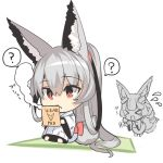 >_< 2girls ? animal_ear_fluff animal_ears bangs barefoot closed_eyes closed_mouth eyebrows_visible_through_hair flying_sweatdrops fox_ears fox_girl fox_tail grey_hair hair_between_eyes high_ponytail holding japanese_clothes kimono long_hair long_sleeves multiple_girls open_mouth original patches ponytail red_eyes romaji_text smoke spoken_question_mark tail very_long_hair white_background white_kimono wide_sleeves yuuji_(yukimimi)