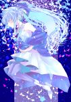 1girl blue_hair commentary dress floating floating_hair from_side gundam gundam_build_divers gundam_build_divers_re:rise hands_together high_heels highres long_hair naridon ponytail sara_(gundam_build_divers) sidelocks solo white_dress