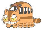 bkub cat chibi full_body fusion grin multiple_legs nekobus sign simple_background smile standing tail tonari_no_totoro white_background yellow_eyes