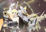 1girl :d absurdres armpits bangs bare_shoulders baselard black_legwear blonde_hair blush breasts commentary elbow_gloves eyebrows_visible_through_hair floating floating_hair frame_arms_girl full_body gloves green_eyes hair_between_eyes headgear highres leotard long_hair looking_at_viewer mecha_musume open_mouth pantyhose sidelocks small_breasts smile solo sudhiro_sappurisa thrusters white_gloves white_leotard