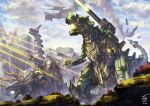 artist_name battle cannon clouds dated day dinosaur highres laser_beam mecha no_humans original outdoors pterodactyl santoni standing triceratops