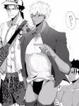 3boys abs animal_print archer assisted_exposure cowboy_shot cu_chulainn_(fate)_(all) dark_skin dark_skinned_male earrings fate/extella fate/extra fate/grand_order fate/stay_night fate/zero fate_(series) glasses greyscale highres jewelry lancer lancer_(fate/zero) leopard_print looking_at_another male_focus male_swimwear monochrome multiple_boys pantsing pointing simple_background swim_briefs swim_trunks swimwear undershirt white_background