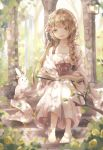 1girl anklet arch bangs barefoot blurry blurry_background blurry_foreground book book_on_lap braid cat chipmunk collarbone commentary_request corset dappled_sunlight day dress flower green_eyes hair_flower hair_ornament jewelry light_brown_hair looking_at_viewer open_book original outdoors parted_lips rabbit rose ruins single_braid sitting sleeves_past_wrists solo squirrel stairs stone_stairs sunlight tree_branch tukimisou0225 wall_lamp water white_dress yellow_flower yellow_rose