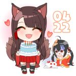2girls :d ^_^ ^o^ akagi_(azur_lane) all_fours animal_ears aye azur_lane bare_shoulders bird_mask birthday_cake black_legwear bow brown_hair cake candle carrying chibi closed_eyes crying crying_with_eyes_open dated eyeshadow food fox_ears fox_girl fox_tail gloom_(expression) gradient gradient_background hair_bow hair_ornament hair_ribbon hairclip heart kyuubi long_hair looking_at_viewer makeup mask mask_on_head multiple_girls multiple_tails off-shoulder_kimono off_shoulder open_mouth pleated_skirt ribbon signature simple_background skirt smile strawberry_cake streaming_tears taihou_(azur_lane) tail tears thigh-highs twintails wide_sleeves zettai_ryouiki
