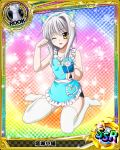 1girl animal_ears apron box card_(medium) cat_ears cat_girl cat_hair_ornament character_name chess_piece fake_animal_ears gift gift_box hair_ornament high_school_dxd looking_at_viewer official_art one_eye_closed open_mouth paw_pose rook_(chess) short_hair silver_hair smile solo source_request thigh-highs toujou_koneko trading_card white_legwear yellow_eyes