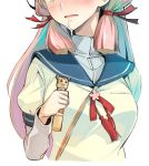 1girl akashi_(kantai_collection) blue_sailor_collar colored_inner_hair head_out_of_frame highres holding kantai_collection long_hair long_sleeves multicolored_hair naka_(kantai_collection) nonco parted_lips pink_hair puffy_short_sleeves puffy_sleeves sailor_collar saliva school_uniform serafuku shirt short_over_long_sleeves short_sleeves sidelocks snot solo upper_body