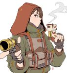1girl blowing_smoke blush brown_eyes brown_hair commentary dual_wielding edpan english_commentary finger_on_trigger green_jacket gun highres holding holding_gun holding_weapon hood hood_up jacket looking_at_viewer original pouch profile signature simple_background smoke solo trigger_discipline upper_body weapon white_background