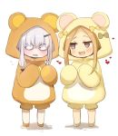 2girls abigail_williams_(fate/grand_order) animal_costume animal_ears bangs bear_costume bear_ears bear_hood blonde_hair blue_eyes blush bow chibi fate/grand_order fate_(series) forehead horns kujiran lavinia_whateley_(fate/grand_order) long_hair looking_to_the_side multiple_girls onesie open_mouth parted_bangs simple_background single_horn smile violet_eyes wavy_mouth white_background white_hair wide-eyed yellow_bow