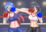 2girls alternate_costume bike_shorts black_eyes black_hair black_shorts blue_eyes blue_hair blue_shorts boxing boxing_gloves boxing_ring bruise commentary_request face_punch hiromon in_the_face injury kantai_collection kirishima_(kantai_collection) long_hair midriff multiple_girls no_eyewear one_eye_closed punching redhead short_hair shorts south_dakota_(kantai_collection) sports_bra star_(symbol) white_hair