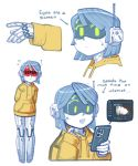 1girl cameron_sewell cat cellphone english_text error_message green_eyes highres holding holding_phone hood hoodie joulie multiple_views original phone radio_antenna smartphone social_network visor white_background yellow_hoodie