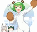 3girls :3 :d animal_ear_fluff animal_ears animare arm_up bangs bear_ears bear_hair_ornament blush brown_gloves center_frills collared_shirt ears_through_headwear eyebrows_visible_through_hair frills fur-trimmed_gloves fur_trim gloves green_eyes green_hair grey_hair hair_between_eyes hair_ornament hashiba_natsumi_(animare) head_scarf highres hinokuma_ran holding kappougi kokka_han ladle mask mouth_mask multiple_girls open_mouth outstretched_arm paw_gloves paws shiromiya_mimi shirt short_hair smile translation_request v-shaped_eyebrows white_headwear white_shirt