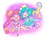 2girls :d aqua_choker aqua_hair bangs blue_eyes blue_legwear chibi collarbone cure_milky cure_star earrings eyebrows_visible_through_hair floating_hair hair_between_eyes hair_ornament holding_hands jewelry juugoya_neko long_hair multiple_girls open_mouth pink_eyes pink_hair pink_legwear pointy_ears precure shiny shiny_hair short_sleeves single_leg_pantyhose single_thighhigh sleeveless smile star_(symbol) star_earrings star_hair_ornament star_twinkle_precure thigh-highs twintails very_long_hair